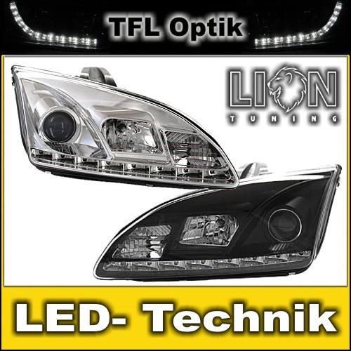 Details zu led tagfahrlicht optik scheinwerfer ford focus 2 mk2 chrom